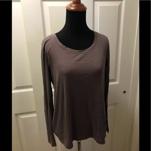 Gilligan & O'Malley Taupe Ribbed Long Sleeve